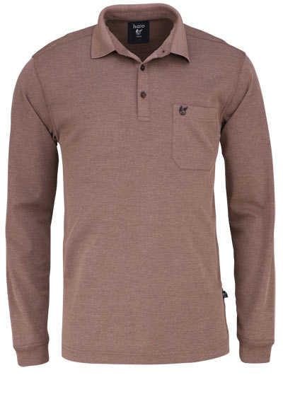 HAJO Softshirt Polo geknöpft Langarm Brusttasche mittelbraun - Hemden Meister