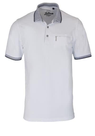 HAJO Poloshirt Kurzarm geknöpft mit Brusttasche Pique weiß - Hemden Meister