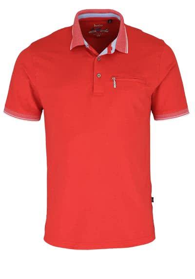 HAJO Poloshirt Kurzarm geknöpft mit Brusttasche Pique rot - Hemden Meister