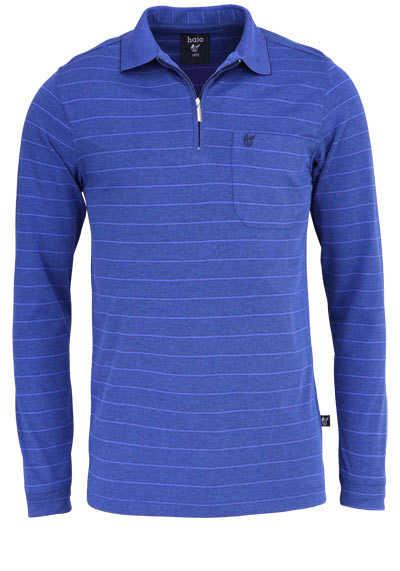 HAJO Poloshirt Langarm Polokragen mit Reißverschluss Ringel dunkelblau - Hemden Meister