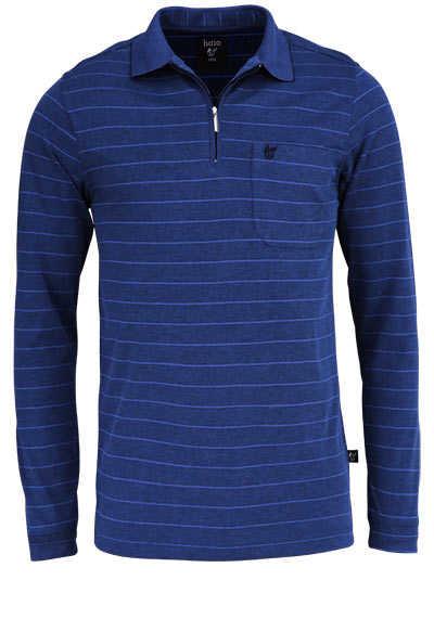 HAJO Poloshirt Langarm Polokragen mit Reißverschluss Ringel marine - Hemden Meister