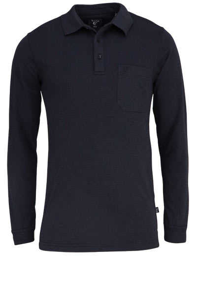 HAJO Poloshirt Langarm Polokragen mit Reißverschluss Ringel schwarz - Hemden Meister
