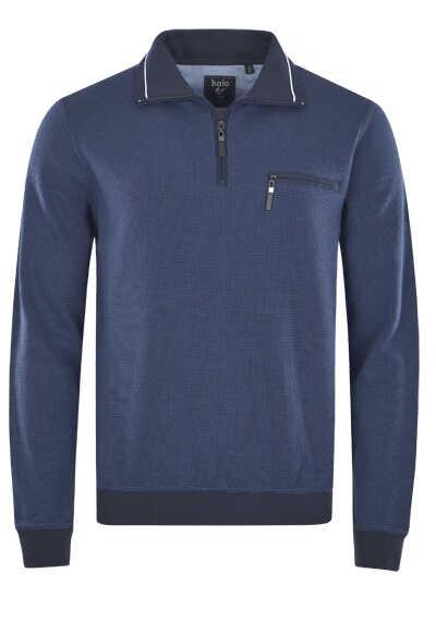 HAJO Sweatshirt Langarm mit Reißverschluss Struktur nachtblau - Hemden Meister