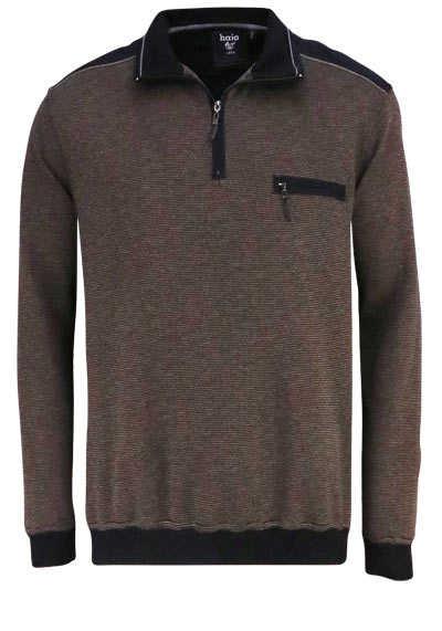 HAJO Sweatshirt Langarm mit Reißverschluss Struktur dunkelbraun - Hemden Meister