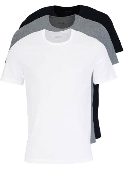 HUGO BOSS Regular Fit Kurzarm T-Shirt 3er Pack weiß/grau/schwarz