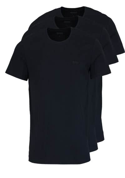 HUGO BOSS Regular Fit Kurzarm T-Shirt Rundhals 3er Pack schwarz