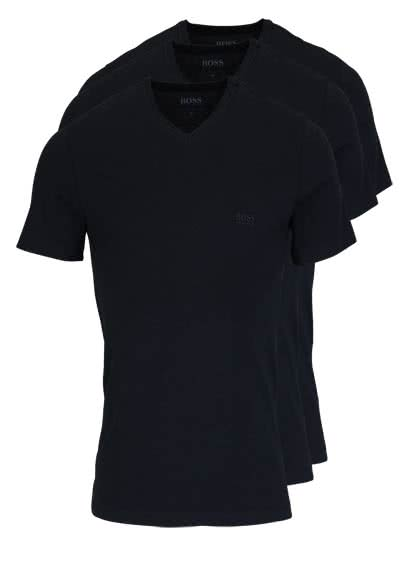 HUGO BOSS Regular Fit Kurzarm T-Shirt V-Ausschnitt 3er Pack schwarz