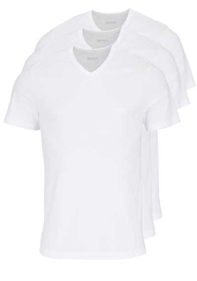 HUGO BOSS Regular Fit Kurzarm T-Shirt V-Ausschnitt 3er Pack weiß
