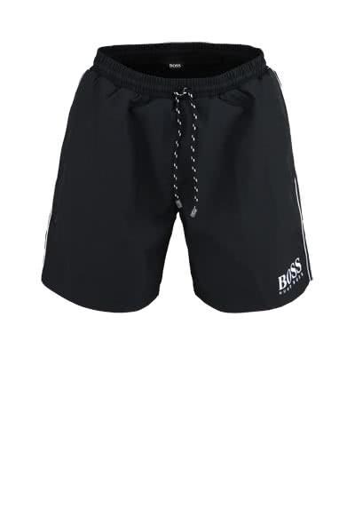 BOSS Badeshort STARFISH Gummibund Schnürung schwarz - Hemden Meister