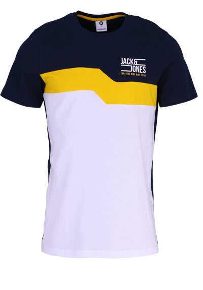 011f8916fefa5f JACK JONES Halbarm T-Shirt JCOMIKKEL Rundhals Logoprint senfgelb  preisreduziert