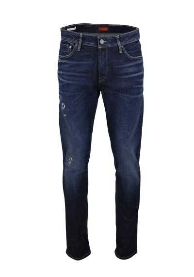 JACK&JONES Slim Fit Jeans BLUE DENIM Used Destroy dunkelblau