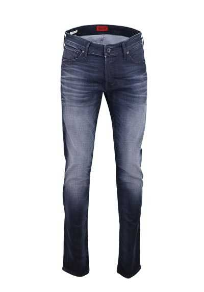 JACK&JONES Slim Fit Jeans BLUE DENIM Used Falten 5 Pocket dunkelblau