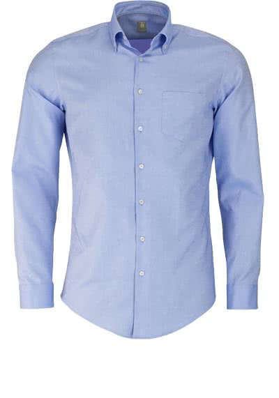 JACQUES BRITT Slim Fit Hemd Langarm Button Down Kragen mittelblau
