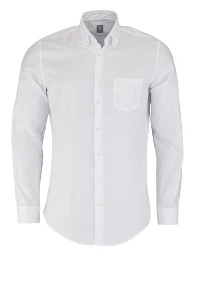 JACQUES BRITT Slim Fit Hemd Langarm Button Down Kragen weiß
