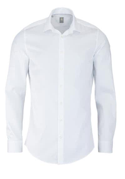 JACQUES BRITT Slim Fit Hemd Langarm New Kent Kragen Satin weiß