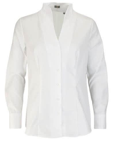 JACQUES BRITT Bluse Langarm offerner Kragen Streifen weiß - Hemden Meister
