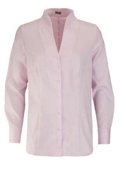 JACQUES BRITT Bluse Langarm offerner Kragen Streifen rosa - Hemden Meister