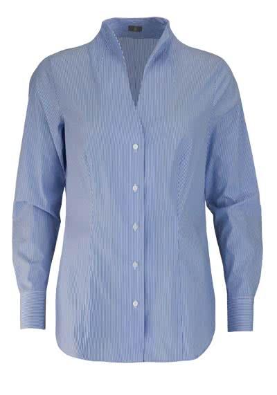 JACQUES BRITT Bluse Langarm Kelchkragen Streifen blau - Hemden Meister