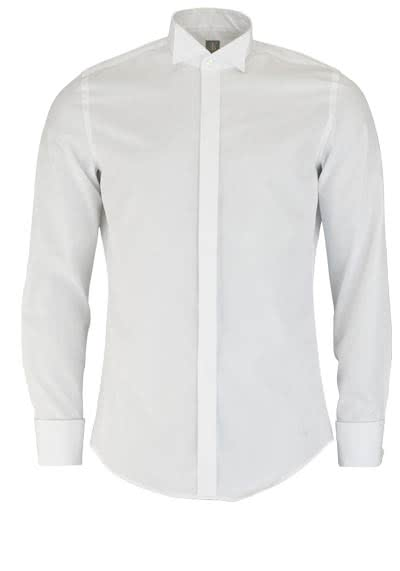 JACQUES BRITT Slim Fit Galahemd Langarm Kläppchenkragen weiß - Hemden Meister