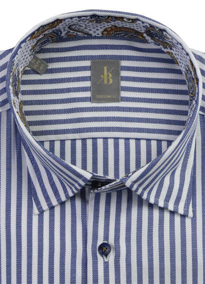 JACQUES BRITT Custom Fit Hemd Langarm Under Button Down Kragen Streifen blau
