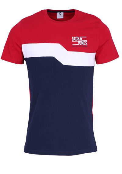 JACK&JONES Halbarm T-Shirt JCOMIKKEL Rundhals Logoprint rot - Hemden Meister