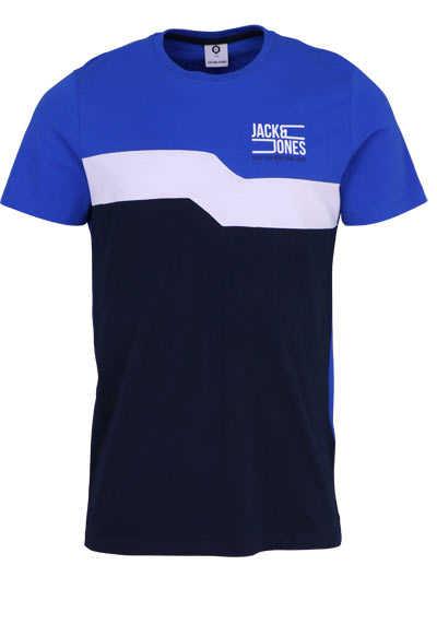 JACK&JONES Halbarm T-Shirt JCOMIKKEL Rundhals Logoprint blau - Hemden Meister