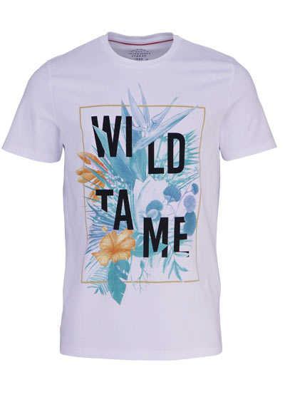JACK&JONES Halbarm T-Shirt JORSPAINS Rundhals Statement-Print weiß - Hemden Meister