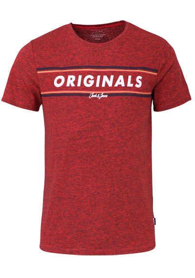 JACK&JONES Halbarm T-Shirt FIERY RED Rundhals mittelrot - Hemden Meister