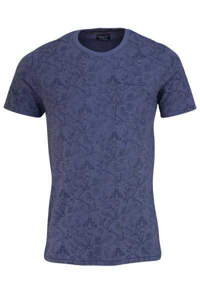 JACK&JONES T-Shirt Rundhals VINTAGE INDIGO Muster dunkelblau - Hemden Meister