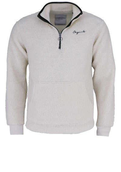 JACK&JONES Langarm Sweatshirt CLOUD DANCER Stehkragen Teddy-Fell ecru - Hemden Meister