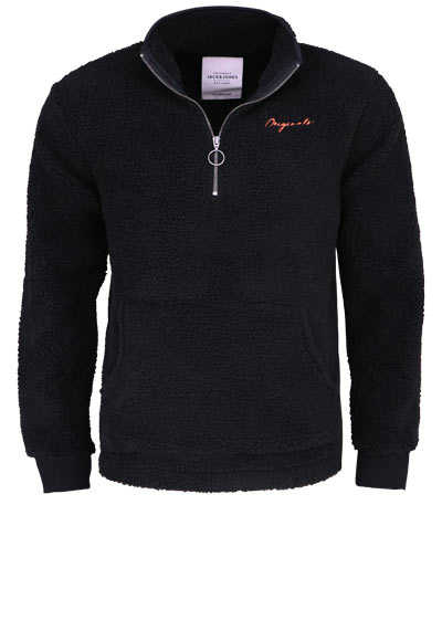 JACK&JONES Langarm Sweatshirt BLACK Stehkragen Teddy-Fell schwarz - Hemden Meister