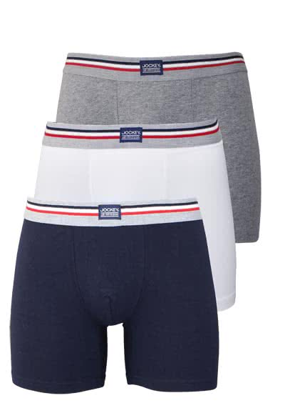 JOCKEY Boxer Trunk Boxershorts Single Jersey 3er Pack Muster blau