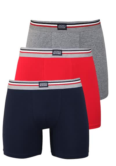 JOCKEY Boxer Trunk Boxershorts Single Jersey 3er Pack Muster rot