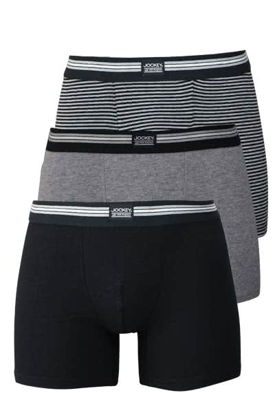 JOCKEY Boxer Trunk Boxershorts Single Jersey 3er Pack Muster schwarz