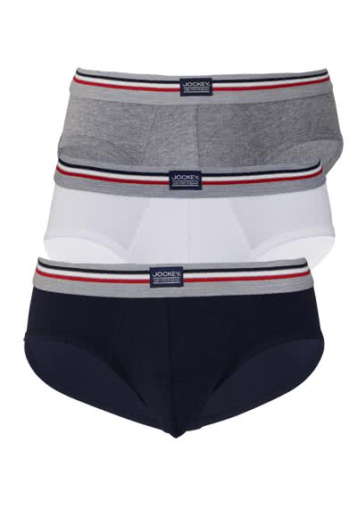 JOCKEY Brief Slip Webgummibund Single Jersey 3er Pack Muster blau preisreduziert