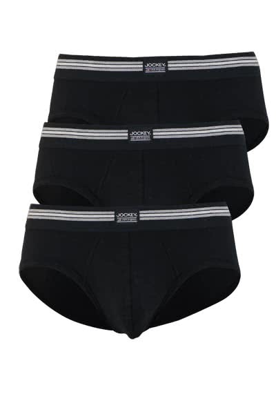 JOCKEY Brief Slip Webgummibund Single Jersey 3er Pack schwarz preisreduziert