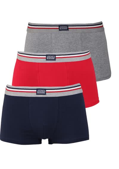 JOCKEY Short Trunk Boxershorts Single Jersey 3er Pack Muster rot