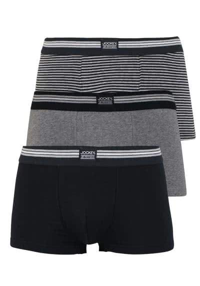 JOCKEY Short Trunk Boxershorts Single Jersey 3er Pack Muster schwarz preisreduziert