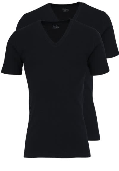 JOCKEY V-Neck Shirt Halbarm Doppelpack Single Jersey schwarz