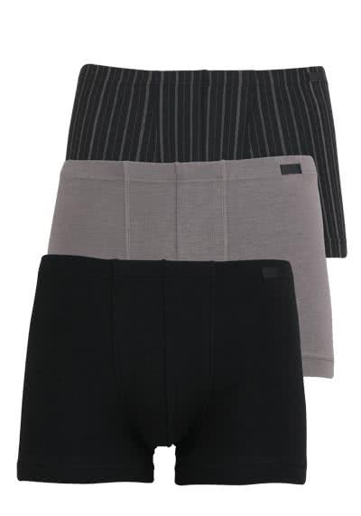 JOCKEY Trunk 3er Pack Uni/Streifen schwarz/schwarz/grau - Hemden Meister