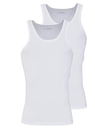 JOCKEY ärmelloses A-Shirt Rundhals Baumwollmischung Doppelpack weiß - Hemden Meister