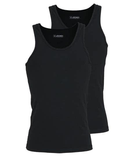JOCKEY ärmelloses A-Shirt Rundhals Baumwollmischung Doppelpack schwarz - Hemden Meister