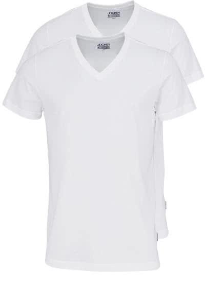 JOCKEY T-Shirt Halbarm V-Ausschnitt Single Jersey weiß - Hemden Meister