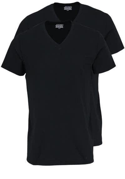 JOCKEY T-Shirt Halbarm V-Ausschnitt Single Jersey schwarz - Hemden Meister