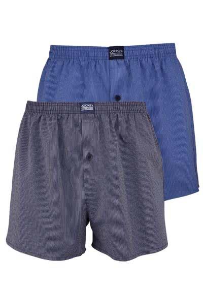 JOCKEY Webboxershort gesäumter Gummibund Doppelpack Streifen blau - Hemden Meister