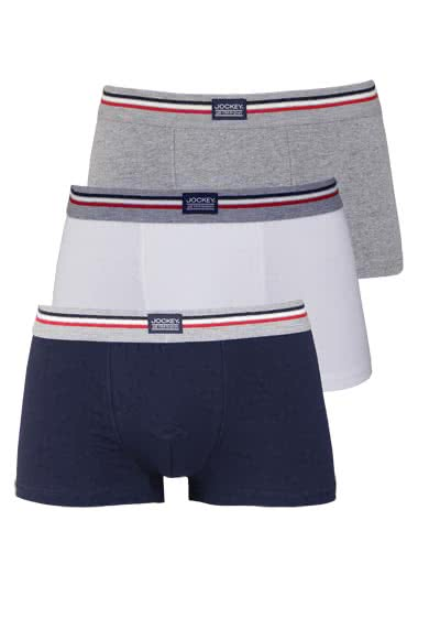 JOCKEY Short Trunk Boxershorts Single Jersey 3er Pack Muster blau - Hemden Meister