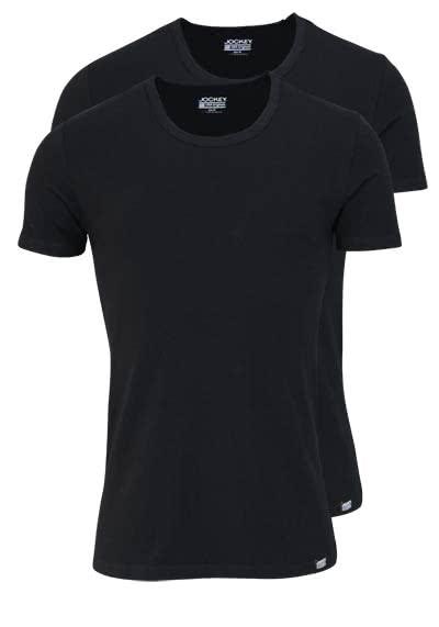 JOCKEY T-Shirt Rundhals Halbarm Doppelpack Single Jersey schwarz - Hemden Meister
