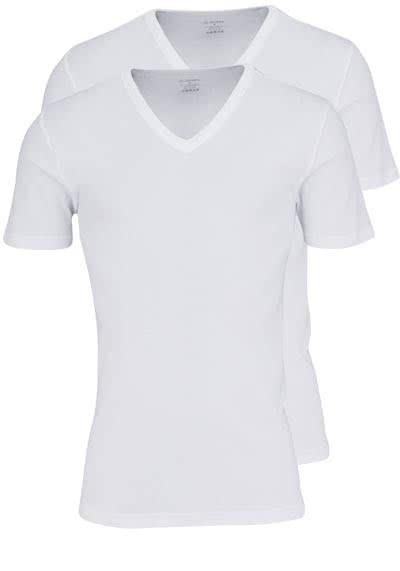 JOCKEY V-Neck Shirt Halbarm Doppelpack Single Jersey weiß - Hemden Meister