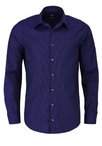 JOOP Slim Fit Hemd PIERCE Langarm New Kent Kragen Struktur blau - Hemden Meister