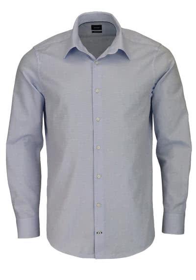 LOOP Modern Fit Hemd MARTELLO Langarm Struktur hellblau - Hemden Meister